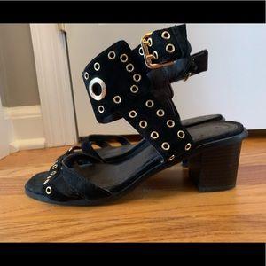 H&M black with gold grommet block heel sandals